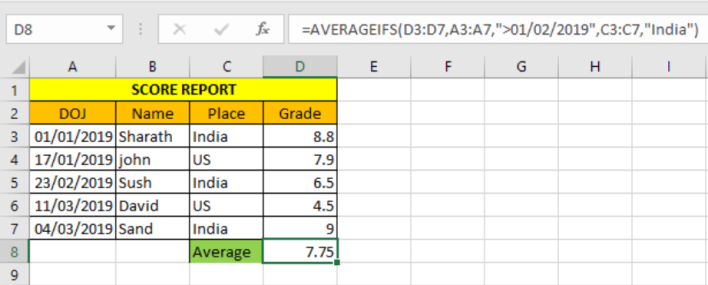 Excel AverageIfs function 1