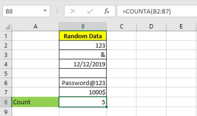 Excel COUNTA function 1