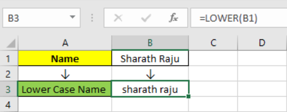 Excel LOWER function 1